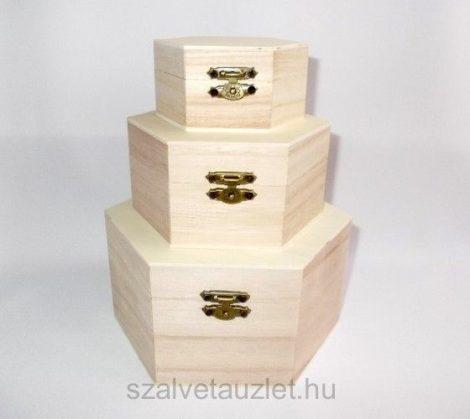 Fa hatszögű 3 részes doboz szett f5093